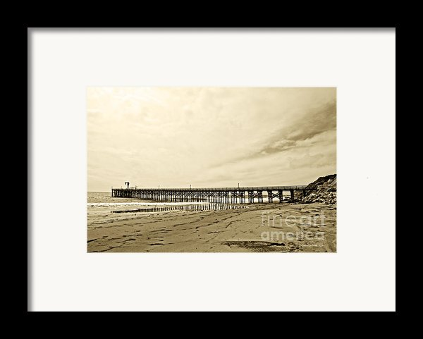 Gaviota Pier In Morning Sepia Tone Framed Print By Artist And Photographer Laura Wrede