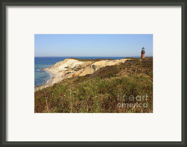 Gay Head Lighthouse With Aquinnah Beach Cliffs Framed Print By Carol Groenen