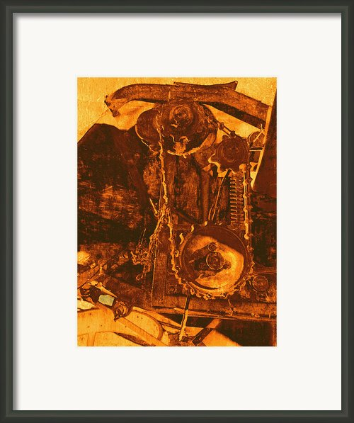 Gears In Yellow Framed Print By Ann Powell