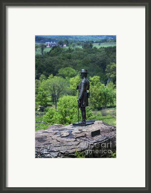 General Kemble Warren At Little Round Top Framed Print By John Greim