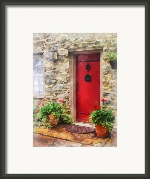 Geraniums By Red Door Framed Print By Susan Savad