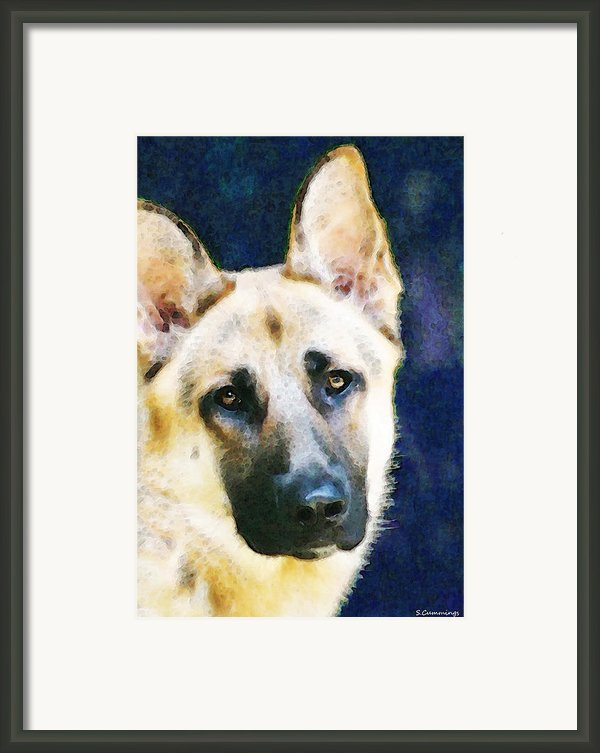 German Shepherd - Soul Framed Print By Sharon Cummings