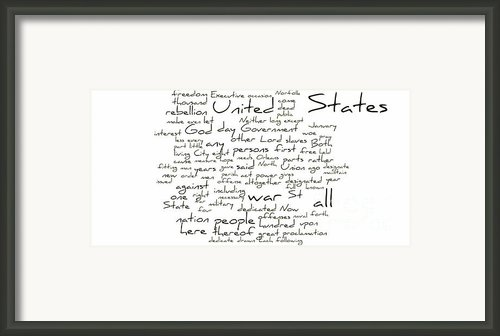 Gettysburg Address-emancipation Proclamation-second Inaugural Address-word Cloud Framed Print By David Bearden
