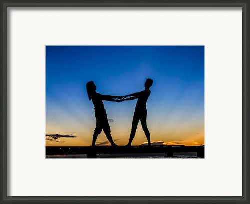 Gilrls Standing On Bridge At Sunrise Framed Print By Sasin Tipchai