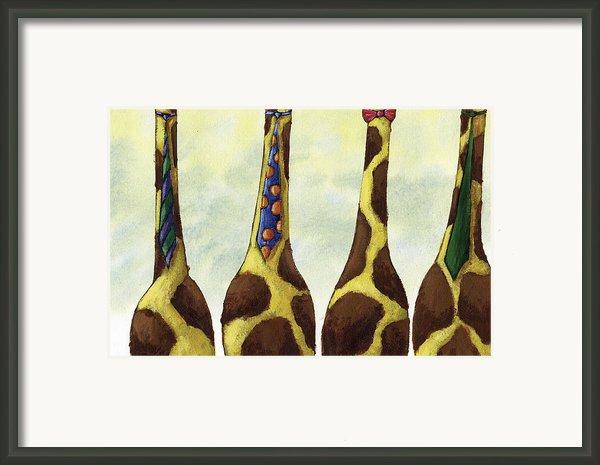 Giraffe Neckties Framed Print By Christy Beckwith