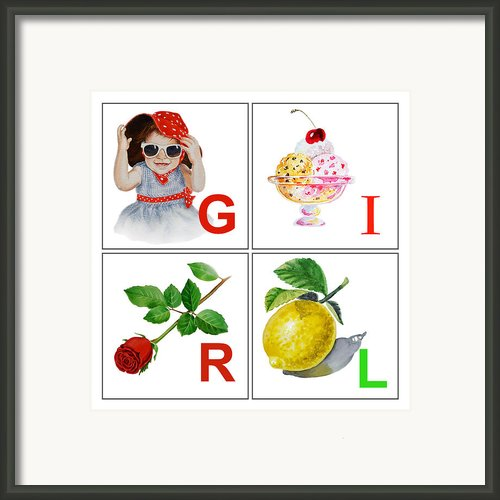 Girl Art Alphabet For Kids Room Framed Print By Irina Sztukowski