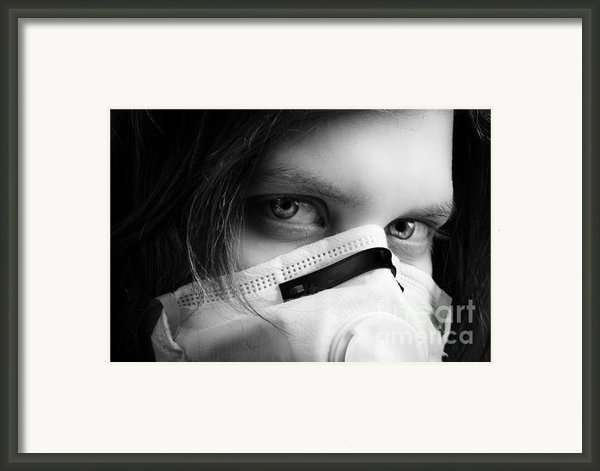 Girl Wearing Protective Mask Framed Print By Oliver Sved