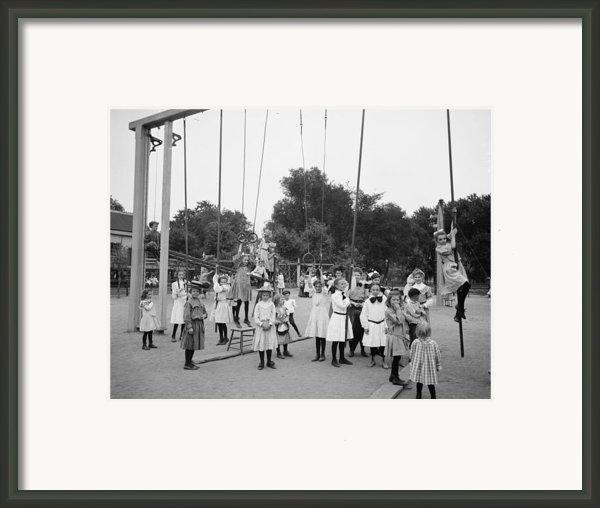 Girls Playground 1899 Framed Print By Stefan Kuhn