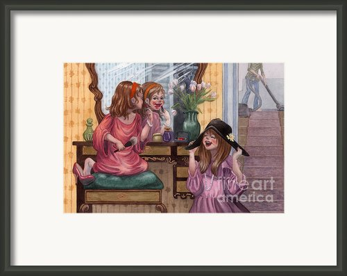 Girls Playing Dress Up Framed Print By Isabella Kung