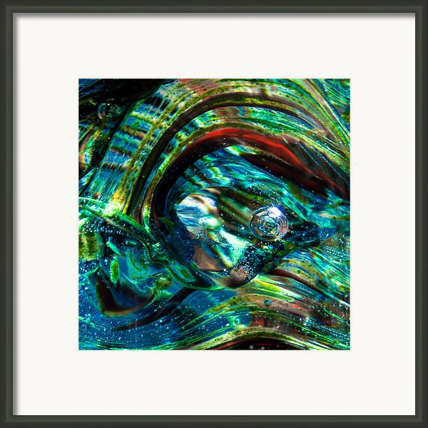 Glass Macro - Blue Green Swirls Framed Print By David Patterson