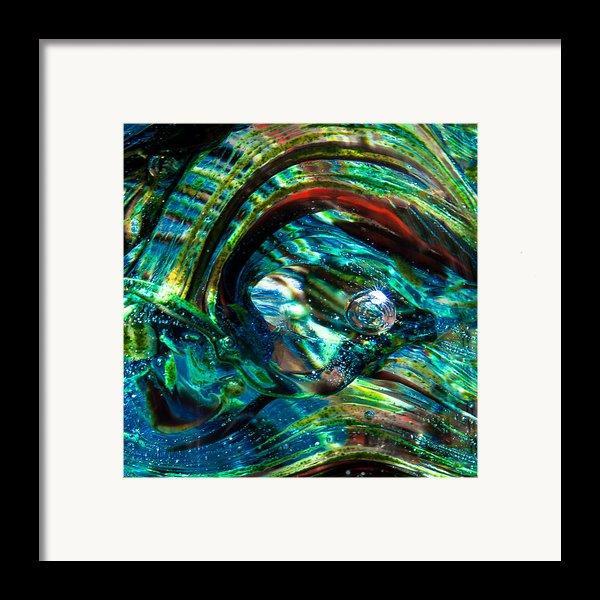 Glass Macro - Blue Green Swirls Framed Print By David Patterson