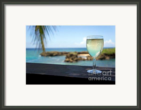 Glass Of Fresh Wine By Tropical Beach Framed Print By Sami Sarkis