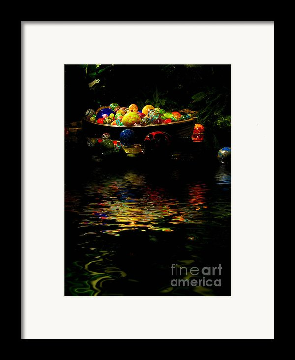 Glass Sculpture Balls In Rowboat Framed Print By Amy Cicconi