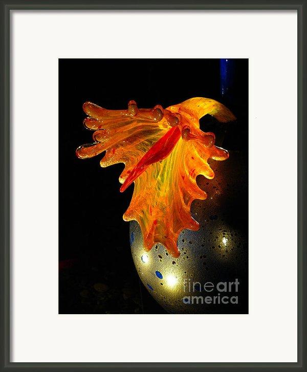 Glass Sculpture Orange Flowerbud Framed Print By Amy Cicconi