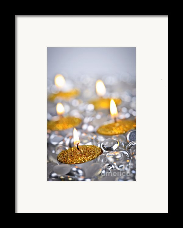 Gold Christmas Candles Framed Print By Elena Elisseeva
