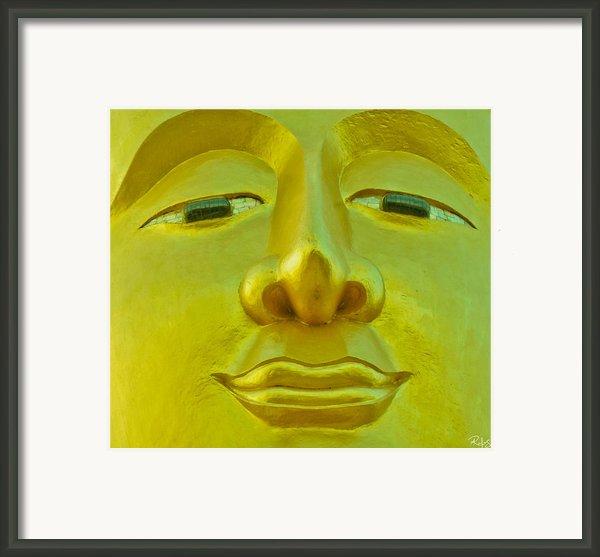 Golden Buddha Smile Framed Print By Allan Rufus
