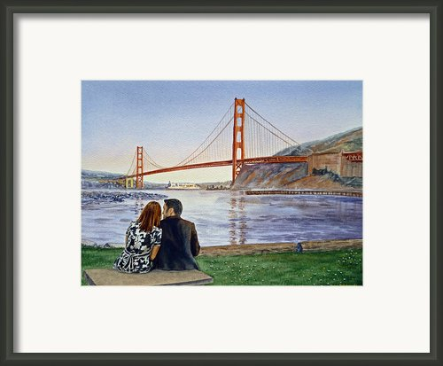 Golden Gate Bridge San Francisco - Two Love Birds Framed Print By Irina Sztukowski