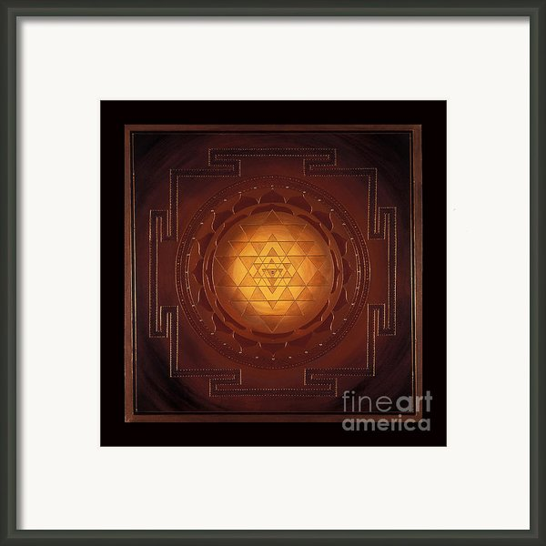 Golden Sri Yantra Framed Print By Charlotte Backman