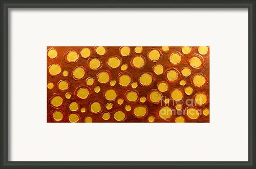 Golden Sunlight - Abstract Oil Painting Original Metallic Gold Textured Modern Contemporary Art Framed Print By Emma Lambert