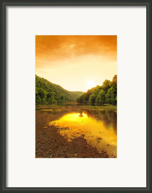 Golden Sunset On Buffalo River Framed Print By Bill Tiepelman