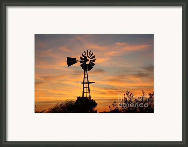 Golden Windmill Silhouette Framed Print By Robert D  Brozek