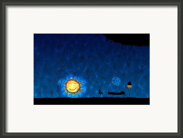 Good Night Sun Framed Print By Sanely Great