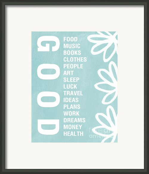 Good Things Blue Framed Print By Linda Woods