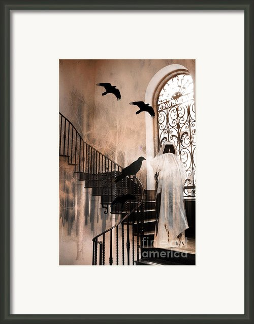 Gothic - The Grim Reaper With Ravens Crows Framed Print By Kathy Fornal