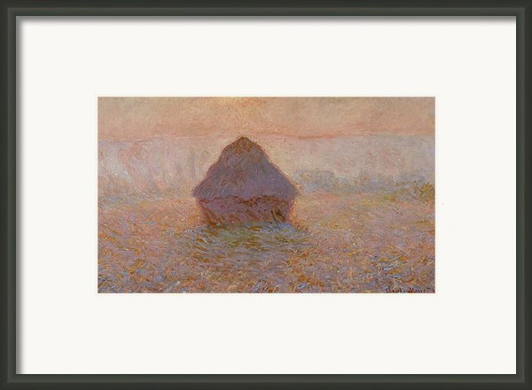 Grainstack  Sun In The Mist Framed Print By Claude Monet