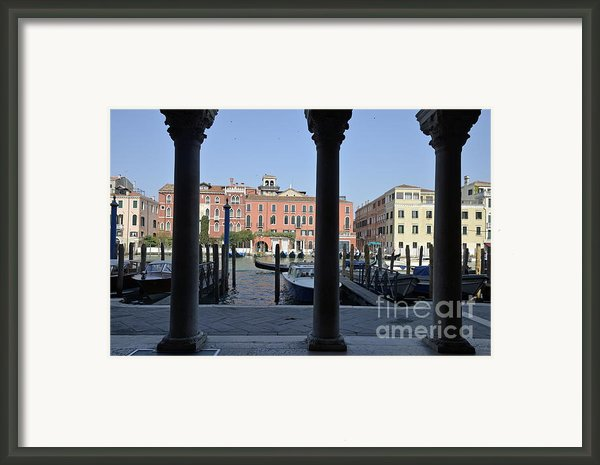 Grand Canal Viewed Through Columns Framed Print By Sami Sarkis