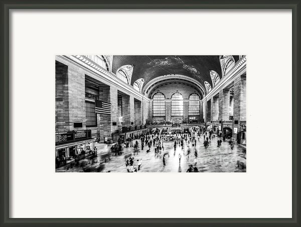 Grand Central Station -pano Bw Framed Print By Hannes Cmarits