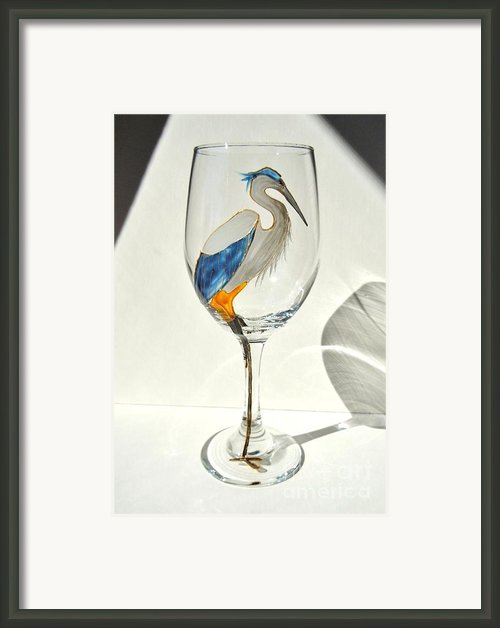 Great Blue Heron Wineglass Framed Print By Pauline Ross