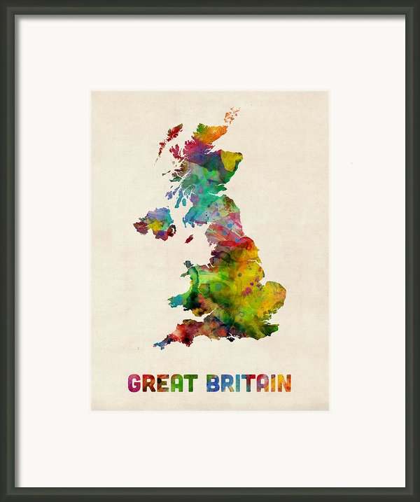 Great Britain Watercolor Map Framed Print By Michael Tompsett