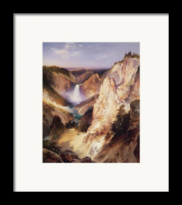 Great Falls Of Yellowstone Framed Print By Thomas Moran