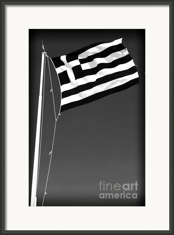 Greek Flag Framed Print By John Rizzuto