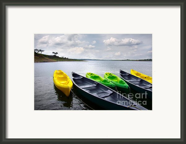 Green And Yellow Kayaks Framed Print By Carlos Caetano