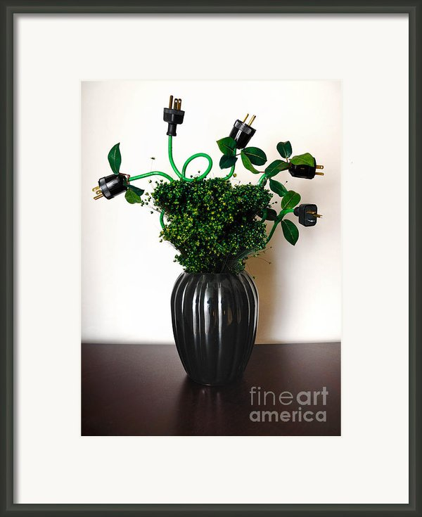 Green Energy Floral Arrangement Of Electrical Plugs Framed Print By Amy Cicconi