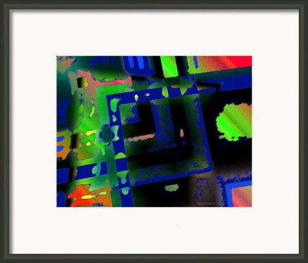 Green Geometric Spots Framed Print By Mario  Perez