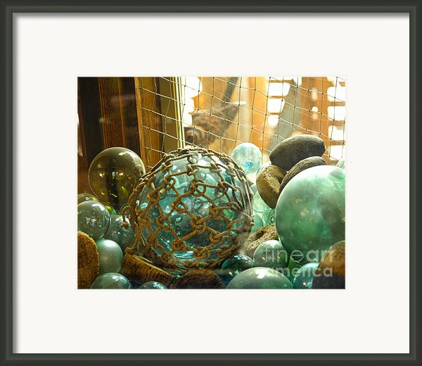 Green Glass Japanese Glass Floats Framed Print By Artist And Photographer Laura Wrede