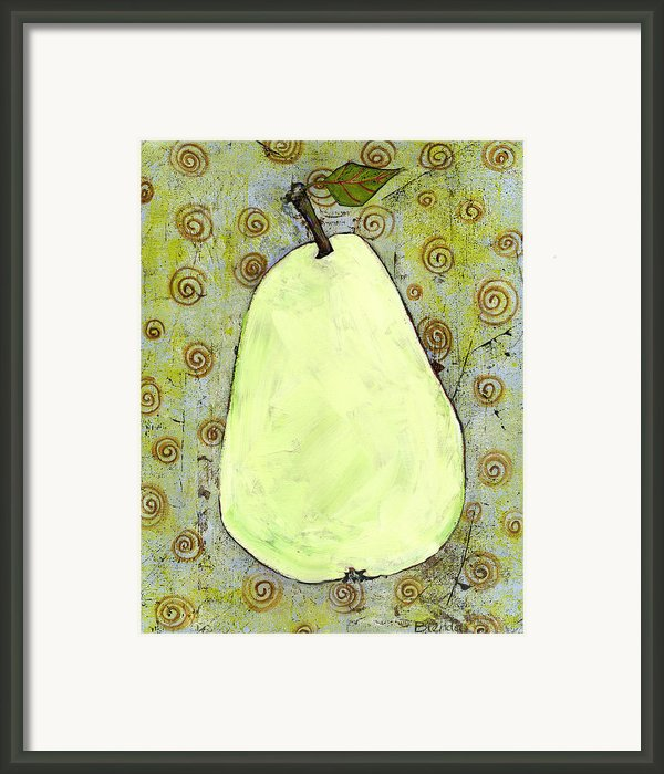 Green Pear Art With Swirls Framed Print By Blenda Studio