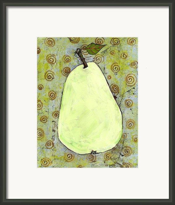 Green Pear Art With Swirls Framed Print By Blenda Studio