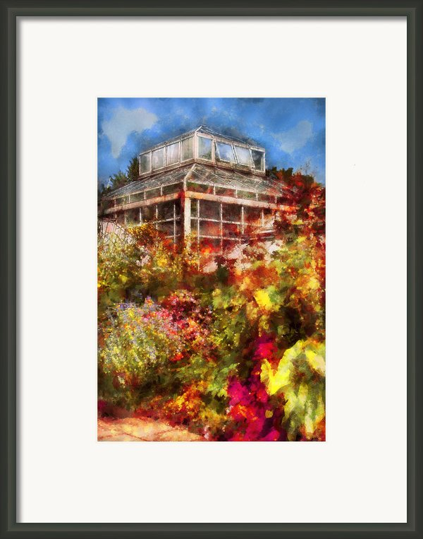 Greenhouse - The Greenhouse And The Garden Framed Print By Mike Savad