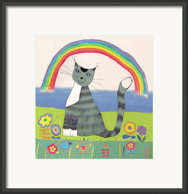 Grey Cat Under Rainbow Framed Print By Yana Vergasova
