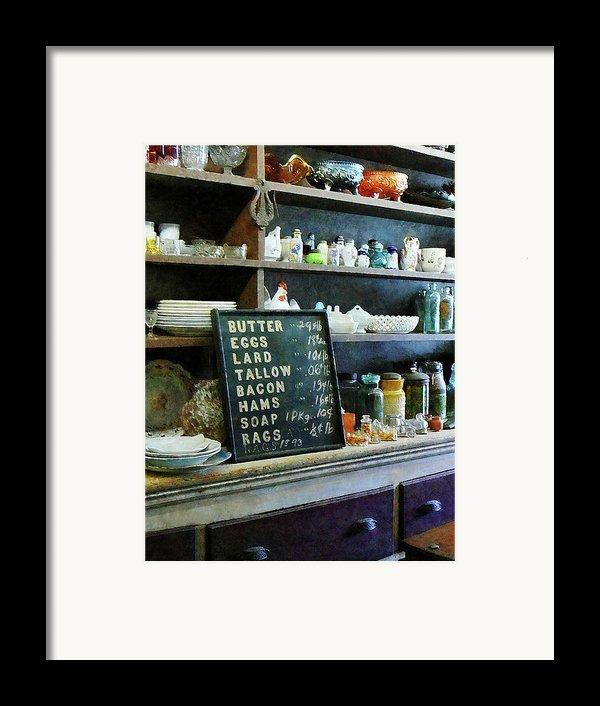 Groceries In General Store Framed Print By Susan Savad