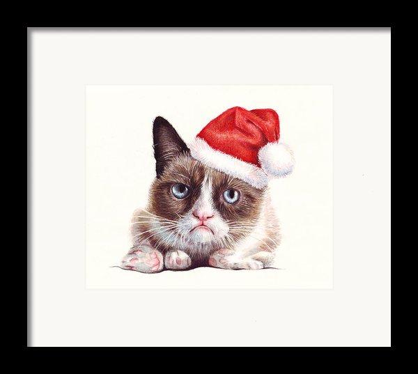 Grumpy Cat As Santa Framed Print By Olga Shvartsur