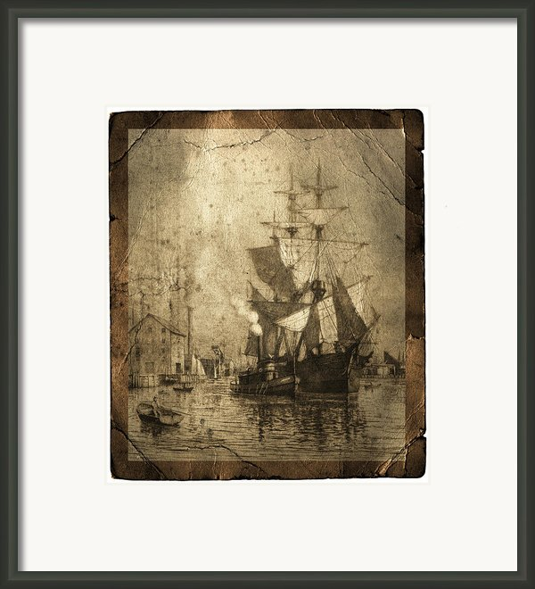 Grungy Historic Seaport Schooner Framed Print By John Stephens