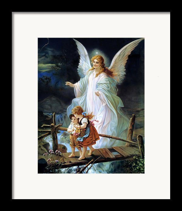 Guardian Angel And Children Crossing Bridge Framed Print By Lindberg Heilige Schutzengel