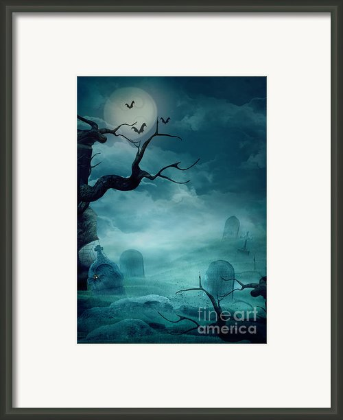 Halloween Background - Spooky Graveyard Framed Print By Mythja  Photography