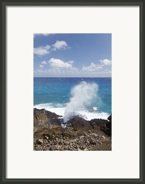 Halona Blowhole Framed Print By Brandon Tabiolo
