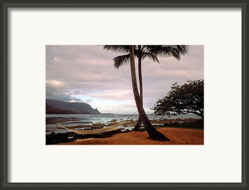 Hanalei Bay Hammock At Dawn Framed Print By Kathy Yates